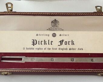 Superb Made for Asprey Original Boxed Sterling Silver Pickle Fork (1969-70).