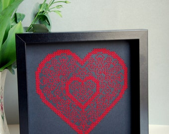 Board seminars embroidered red heart - cross stitch
