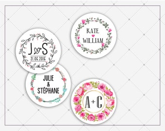 24 labels wedding 4cm