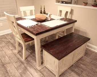 Rustic Farmhouse Table with Matching Storage Bench