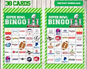 Printable 60 Super Bowl Bingo Cards instant download , Super Bowl Bingo Game, Printable Super Bowl Commercials Bingo Cards