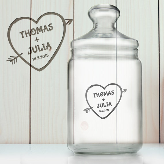 """Sweet Jar – """"Cupid's Arrow"""" – Beautifully Etched - Personalised With Name And Date – Wedding or Love Gift Ideas"""