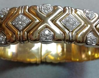18K Yellow Gold and Diamond Verney Poiray Open Cuff Bracelet Bangle Similar to Bvlgari Parentesi Design