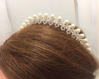 POPPY - Pearl & Diamante Tiara Crown