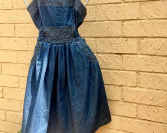 90's Women's  Dark Denim JFW Flowy Short Spaghetti Strap Sundress size 4/5