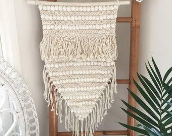 Handcrafted Crochet Macrame Boho Luxe Coastal Shell Gypsy Retro Wall Hanging