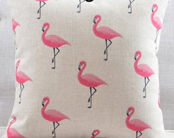 Pink flamingo/ Comfortable Linen Pillow Cover / cushion shell / decorative pillow