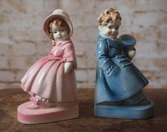 Porcelain Girl and Boy Bookends