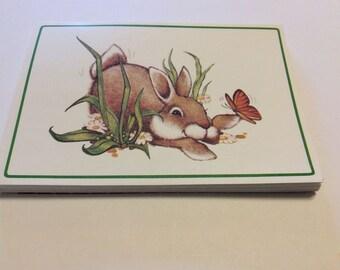 Vintage Set of Bunny Rabbit Folded Notes