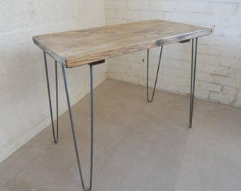 Rustic Desk Handmade Simple  Industrial Urban Design Reclaimed Wood Custom Sizes and Colour Options  Hairpin Legs