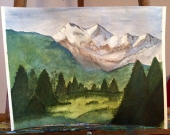 """Water Color Mountain Painting - """"A Mountain's Reach"""""""