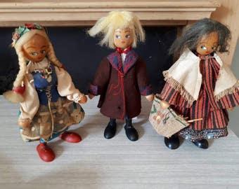 3 Vintage Polish Gromada Dolls