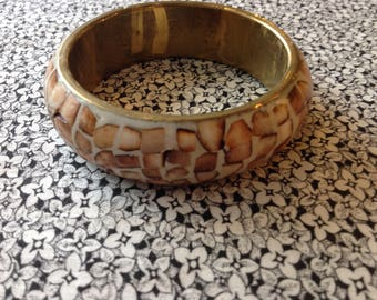 Vintage Brass Bangle Bracelet with Shell Inlay in Mosaic Pattern