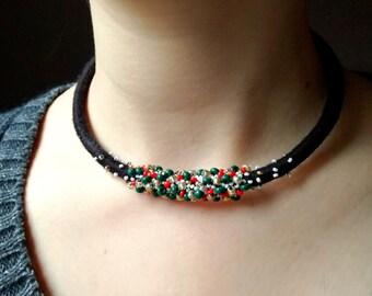 Chocker boho necklace, handmade necklace, black, Bright Lights