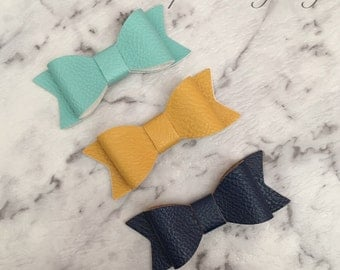 3x Girls Baby Faux Leather Hair Bow Clips Mint Navy Blue Mustard Yellow
