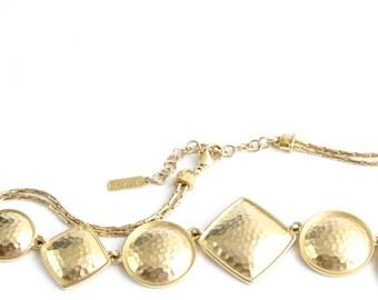 Vintage Napier Necklace Modern Style Hammered Gold Geometric Shapes