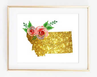 Montana gold art, Montana poster, Montana printable, mt artwork, mt poster art, mt gold floral, mt gold art, mt printable, digital art