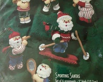 RARE vintage new sealed Bucilla Sporting Santa Christmas ornament kit 1996