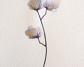 Custom wall art original abstract botanical blue cotton plant watercolour illustration with gold ink A4