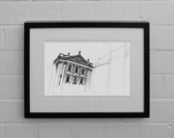 Senate House, Cambridge, Drawing Print, Sketch, Illustration, Architectural Drawing, Wall Art Print, Cambridge Drawing