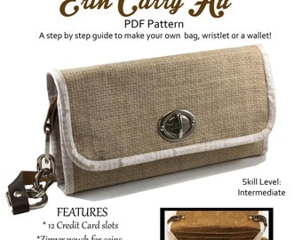 Erin Carry All Bag Wallet or Wristlet PDF file pattern 12 credit card Compartments coin purse Wallet Portoflio Bag