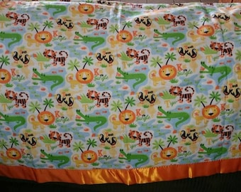 King of the Jungle - Lions & Tigers Baby/Crib/Tummy Time Blanket - Soft Flannel ~45x45 with Satin Border