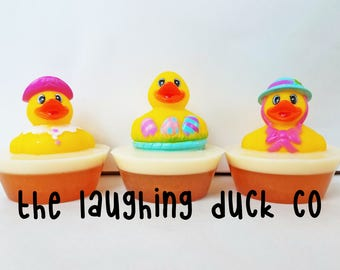Easter Rubber Ducky Soap, Chocolate Scent, Shea Butter & Glycerin Soap, Grease, Rubber Duck, Toddler Gift Idea, Toy, Basket, Lamb, Flowers