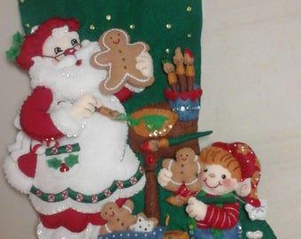"""18"""" Felt Christmas Stocking  - Christmas Cookies"""