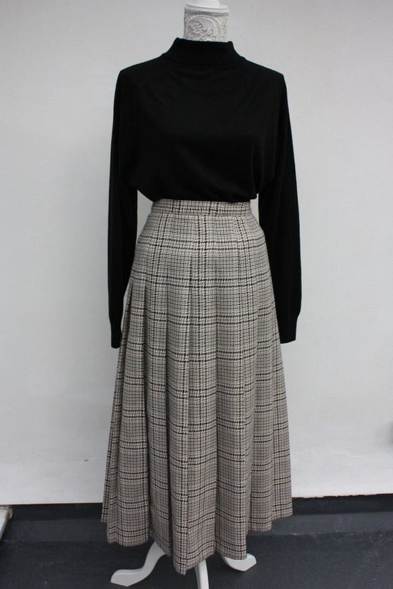 vintage 1980s checked pleated maxi skirt 80s brown and
