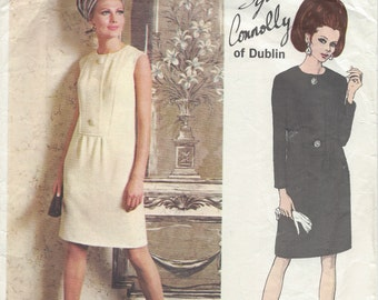"""1968 Vintage VOGUE Sewing Pattern DRESS B36"""" (1178) By 'Sybil Connolly'   Vogue  1876"""