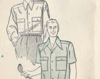 """1940s Vintage Sewing Pattern MEN'S SPORT SHIRT S:15 1/2 C38""""-40"""" (1289) By Butterick 3999"""