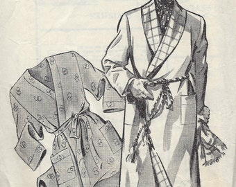 "1940s Vintage Sewing Pattern Chest:38"" Mens DRESSING GOWN - HOUSECOAT (1284)"