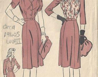 "1940s WW11 Vintage Sewing Pattern DRESS B36"" (1811)  By Advance 3184"