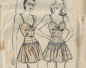 1941 WW11 Vintage Sewing Pattern B32 BALLERINA BATHING SUIT (1817) By Butterick 3719
