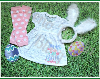 Custom Made Vinyl Girls Dress Bunny Kisses and Easter Wishes made by The Bling Lady