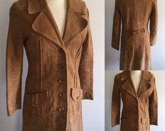 Vintage 1970's Suede Coat - UK Size 12 -14/US Size 8-10