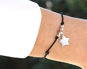 Bracelet star and pearls in Sterling Silver 925 on cord
