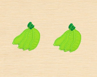 Set of 2 pcs Mini Green Banana Fruit Iron On Patches Sew On Appliques