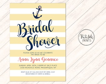Nautical Bridal Shower Invite, Navy Nautical Wedding Shower Invitation, Navy & White Stripe Invite, Nautical Bridal Luncheon, Anchor Invite