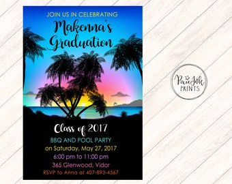 Beach Graduation Invitation Party Invitations Luau