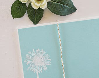 Embossed Note Cards, Gerber Daisy Flower, Flat Note Cards, Stationery Set