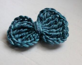 Crochet BOW Hair Clip - BLUE