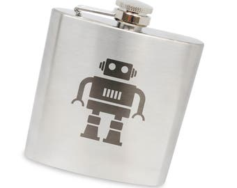 Robot 6 Oz Flask, Stainless Steel Body, Handmade In Usa