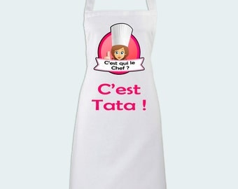 Kitchen apron who's the leader? It's Auntie! Gift for a great aunt - family