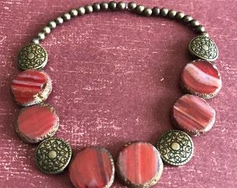 Copper Red Glitter Bead Bracelet