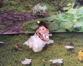 OOAK Polymer Clay Seashell Baby Sculpt - Guaranteed to make you smile! - Handmade by Sue Radford