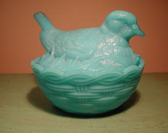 Blue Milk Glass Robin on Nest Covered Dish