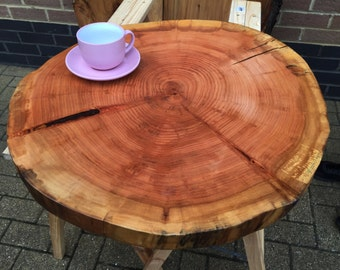 Round Live edge Reclaimed wood slab willow coffee tabletop