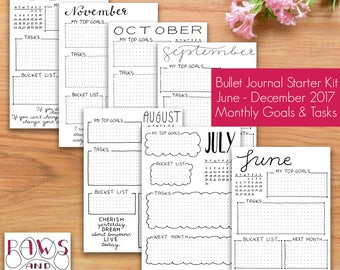 PRINTABLE Bullet Journal Starter Kit • Monthly Goals and Task Pages • June to December 2017 • Hand Drawn Instant Download • Monthly Planner