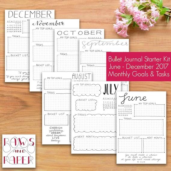 printable bullet journal starter kit monthly goals and task. Black Bedroom Furniture Sets. Home Design Ideas